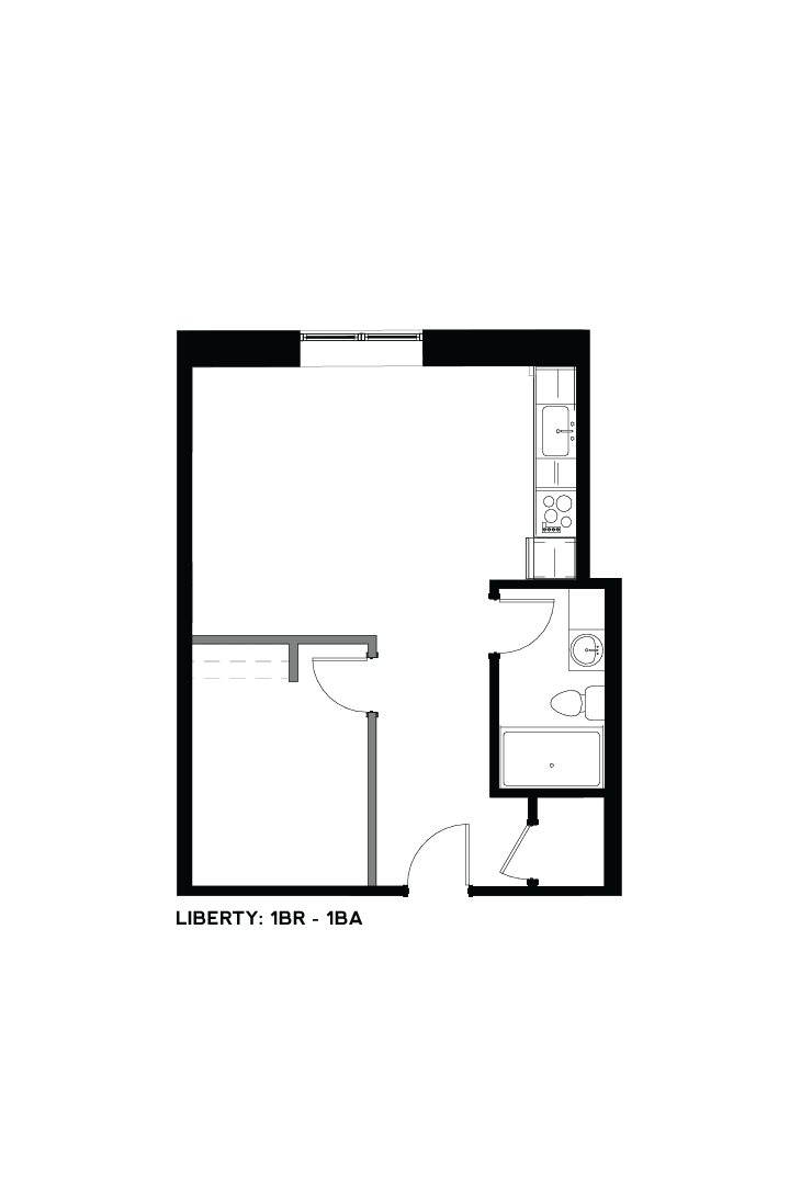 West Bottoms Flats - Liberty 1 BR - 1 BA Floor Plan