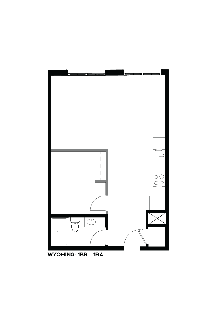 West Bottoms Flats - Wyoming 1BR - 1BA Floor Plan