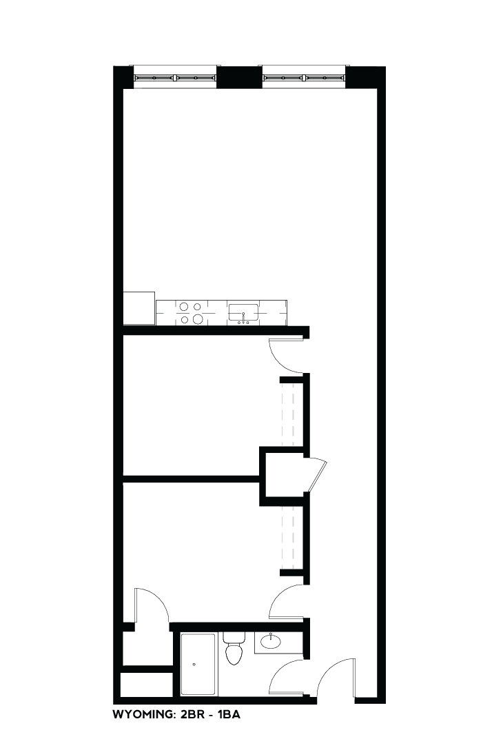 West Bottoms Flats - Wyoming 2BR - 1BA Floor Plan