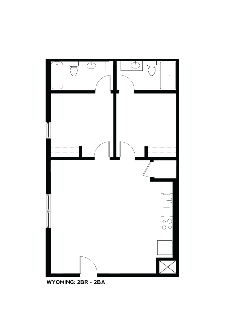 West Bottoms Flats - Wyoming 2BR - 2BA Floor Plan